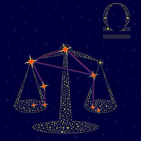 neutralizować: Znak zodiaku: Waga na tle rozgwieżdżonego nieba z systemem gwiazd w konstelacji, ilustracji wektorowych