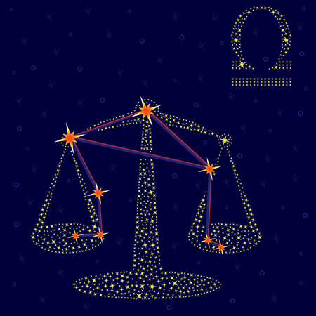 oscillate: Zodiac sign Libra on a background of the starry sky with the scheme of stars in the constellation, vector illustration