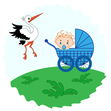 ecard: Baby boy in a pram in the meadow and stork beside him, hand drawing vector illustration