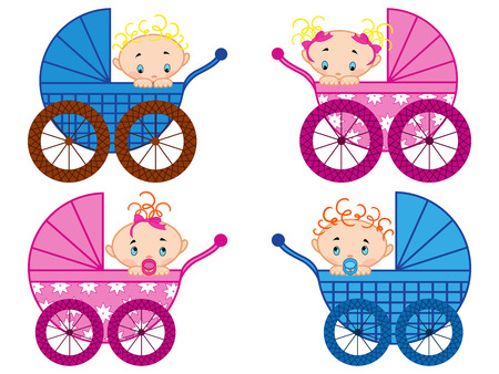 babygirl: Four strollers with baby-boys and baby-girls, hand drawing vector illustration
