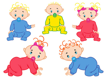 babygirl: Five cartoon vector babies isolated on white background