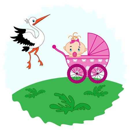 babygirl: Baby girl in a pram in the meadow and stork beside him, hand drawing vector illustration