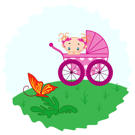 babygirl: Baby girl from pram watching a butterfly, hand drawing vector illustration Illustration