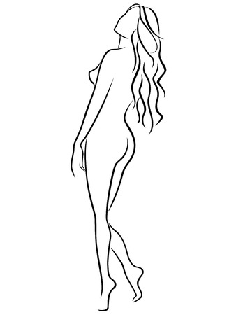 nude model: Abstract outline of female half turn back, black over white hand drawing vector artwork