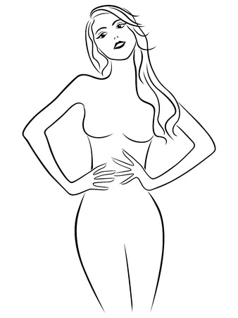 waistline: Attractive girl holding hands on waistline, hand drawing vector outline