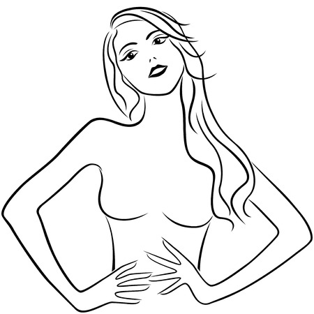 perfect fit: Beautiful slim girl holding hands on waistline, hand drawing vector outline
