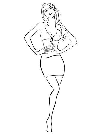 Beautiful slender girl posing in a short skirt, hand drawing vector outline