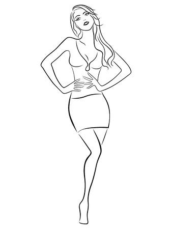 Beautiful slender girl posing in a short skirt, hand drawing vector outline