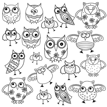gaudy: Set of eighty funny owls, black vector contour isolated on white background