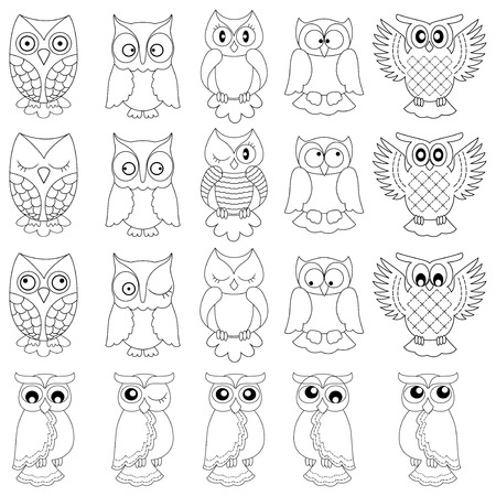 nightly: Set of twenty funny owls, black vector contour isolated on white background Illustration