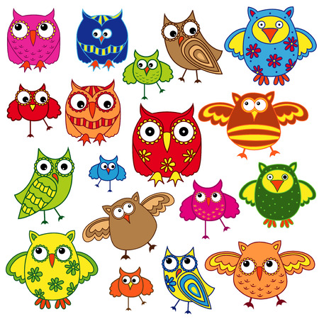 gaudy: Set of eighty colourful vector owls isolated on white background