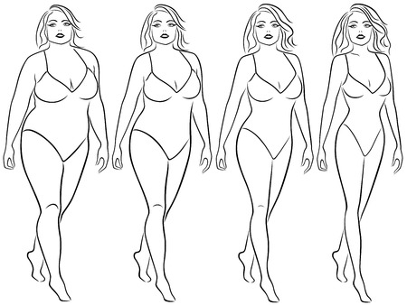 portly: Four stages of a woman on the way to lose weight, black vector contour isolated on white background Illustration
