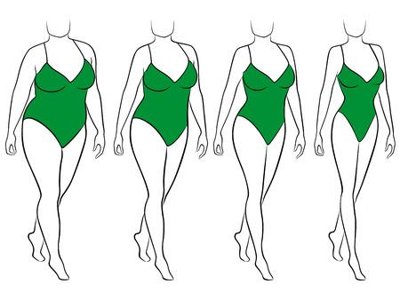 Cuatro etapas de la abstracta femenina en la manera de perder peso, la ilustración vectorial negro y verde Ilustración de vector