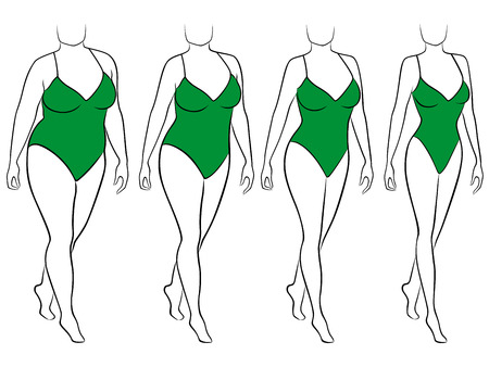 Quatre étapes de résumé femme sur la façon de perdre du poids, noir et vert illustration vectorielle Vecteurs