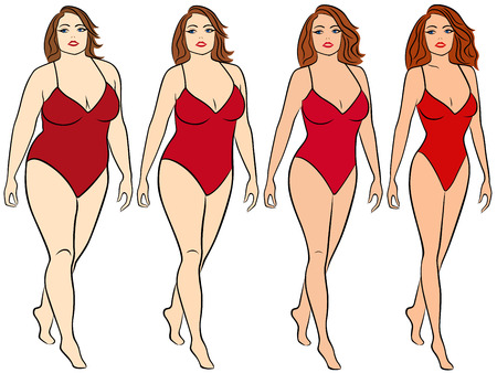 Four stages of a woman on the way to lose weight, colorful vector illustration isolated on white background Çizim