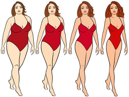 Vier fasen van een vrouw op de weg om gewicht te verliezen, kleurrijke vector illustratie geïsoleerd op een witte achtergrond