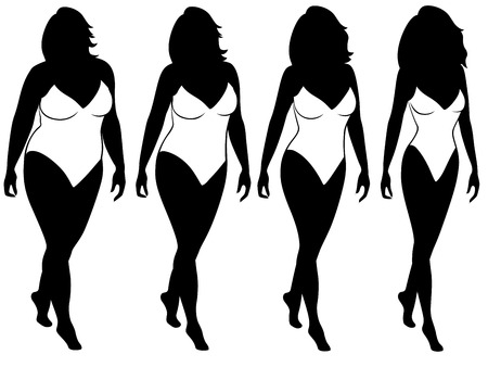 Four stages of abstract woman on the way to lose weight, black and white vector silhouettes isolated on white background