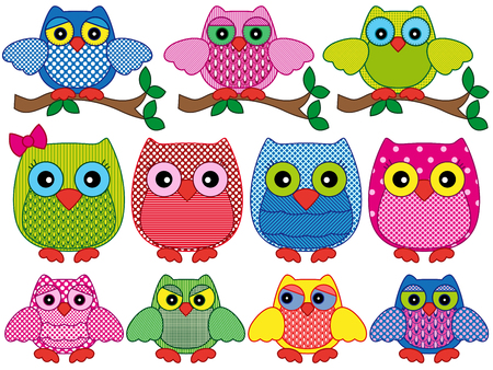 nightly: Set of eleven ornamental cartoon owls with various characters isolated on white background