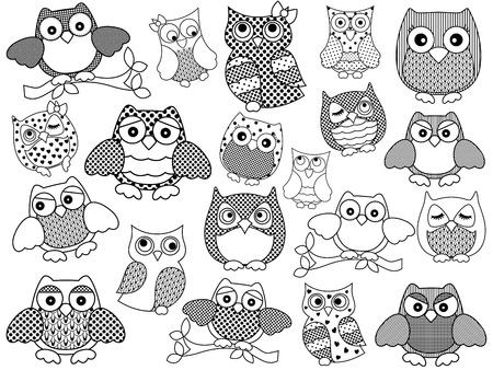contour: Amusing and funny twenty ornamental owls set, black vector contours isolated on white background