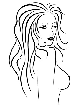 nude woman posing: Abstract beautiful young woman with a naked breast, hand drawing vector outline Illustration