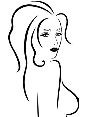 adult nude: Abstract young woman with a naked breast, hand drawing vector outline