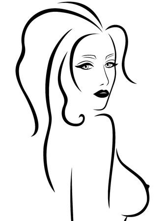 Abstracte jonge vrouw met een naakte borst, hand tekening vector overzicht Stock Illustratie