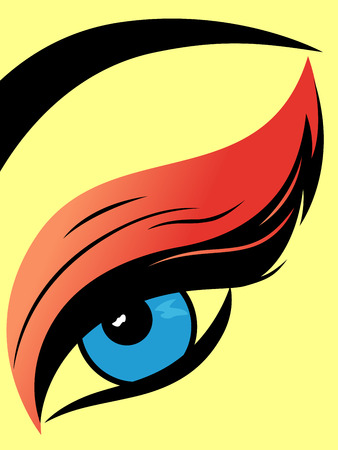 Eye with fluffy eyelid close-up, colourful hand drawing vector illustration Ilustração