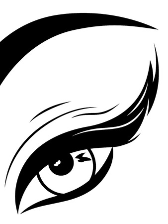 Eye with fluffy eyelid close-up, black and white hand drawing vector illustration Ilustração