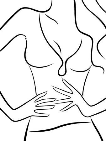 Abstract body of slim beautiful woman, hand drawing vector outline