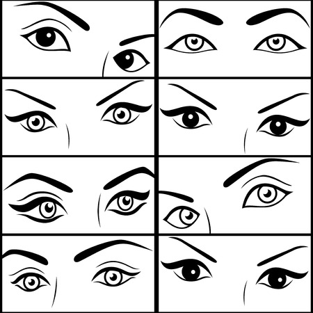 pairs: Eight pairs of female eyes, set of black vector outlines each separately isolated on the white backgrounds