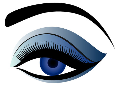 eyelid: Eye with fluffy eyelid, hand drawing illustration in blue hues