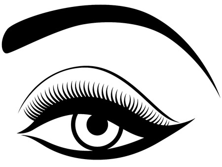 Eye with fluffy eyelid, black and white hand drawing vector illustration
