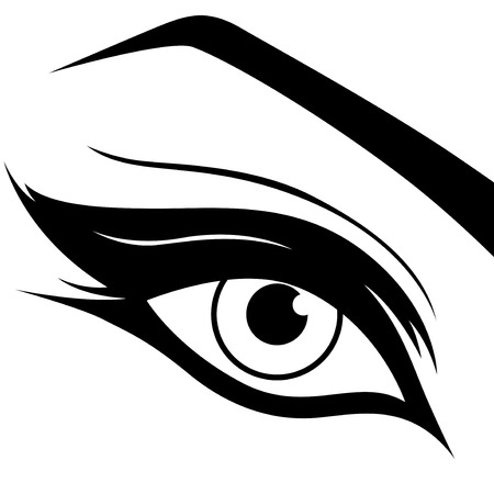 Eye silhouette close-up, black and white hand drawing vector illustration Ilustração