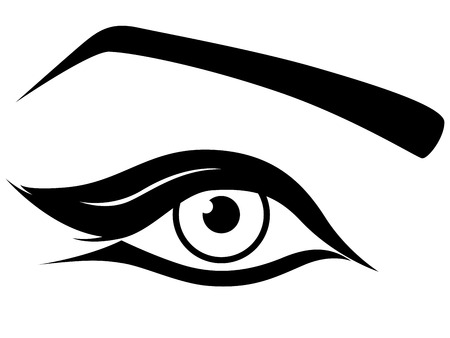 Eye silhouette close-up, black and white hand drawing vector artwork