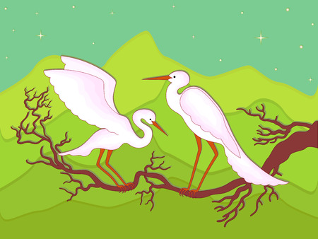 tranquillity: Pair of storks on a branch in early spring night against the backdrop of mountain scenery, hand drawing vector illustration Illustration
