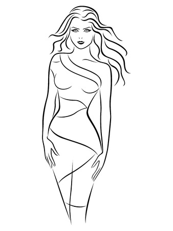 slender: Graceful young women in fitting dress, hand drawing vector outline