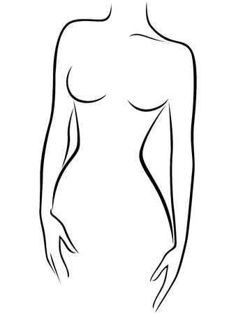 nude breasts: Abstract graceful female figure, hand drawing vector outline Illustration