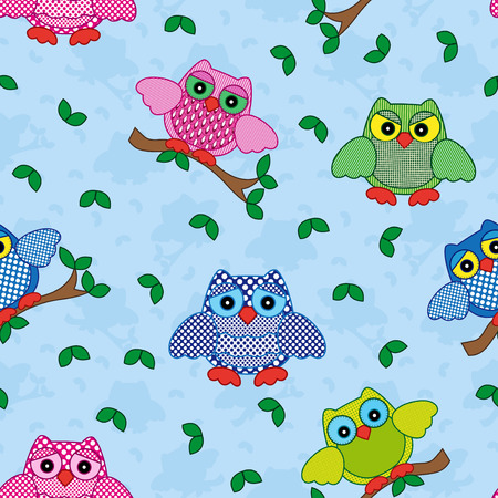 gaudy: Seamless vector pattern with colorful ornamental owls on a blue background Illustration
