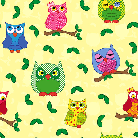 nocturnal animal: Seamless vector pattern with colorful ornamental owls on a light yellow background Illustration