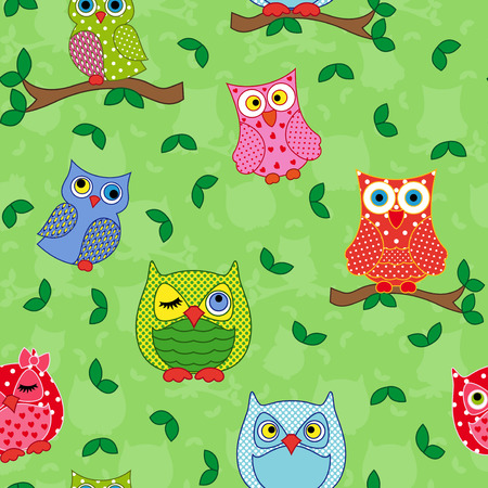 Seamless vector pattern with colorful ornamental owls on a light green background
