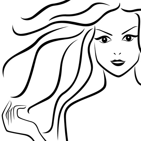 abstract portrait: Abstract portrait of beautiful girl with flowing hair, hand drawing vector outline Illustration