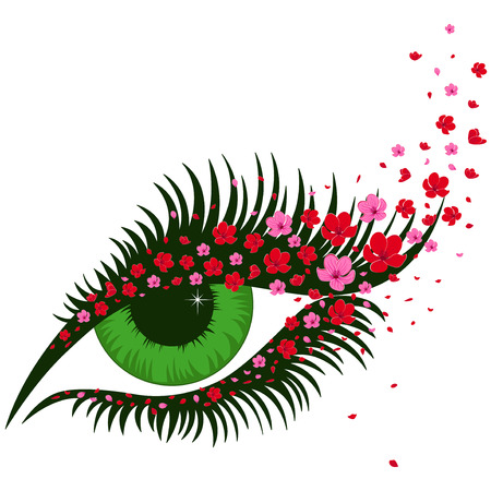 Female green eye with small pink flowers of sakura, hand drawing vector illustration