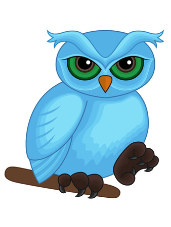sympathetic: Cute cartoon blue owl sitting on a branch isolated on white background, hand drawing vector artwork Illustration