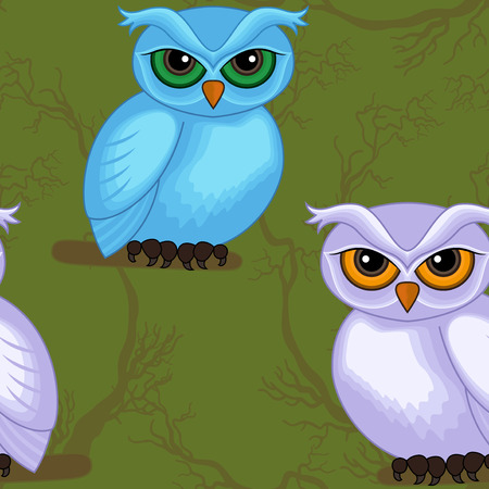 sympathetic: Seamless vector artwork pattern with sympathetic blue and violet cartoon owls on the dark green forest background Illustration