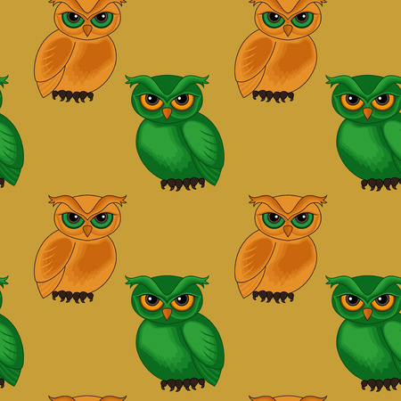 sympathetic: Seamless vector pattern with sympathetic green and orange cartoon owls on the brown background Illustration