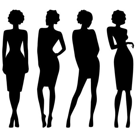 Vier slanke aantrekkelijke vrouwen zwarte silhouetten, hand tekening vector artwork Stock Illustratie