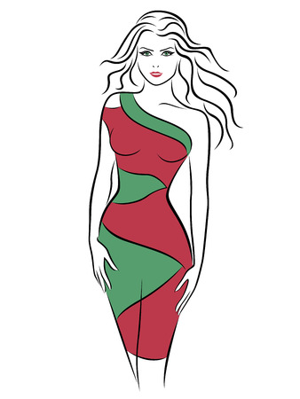 Beautiful young woman in a slinky two-tone dress, hand drawing vector outline