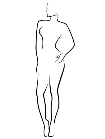 body art: Abstract human slim body laconic vector outline