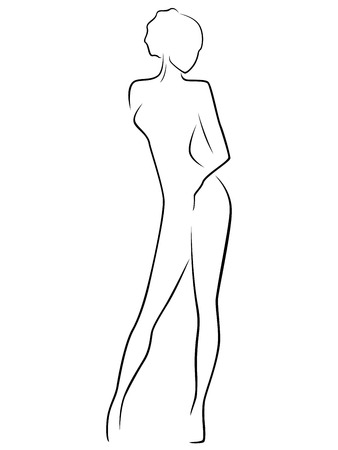 female pose: Abstract female slim body laconic vector outline