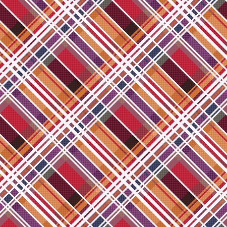 scot: Diagonal position of rectangular seamless vector pattern as a tartan plaid mainly in red and other warm colors Illustration